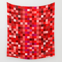 Red Pixel Wall Tapestry