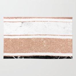 Faux rose gold glitter modern marble stripes pattern Rug