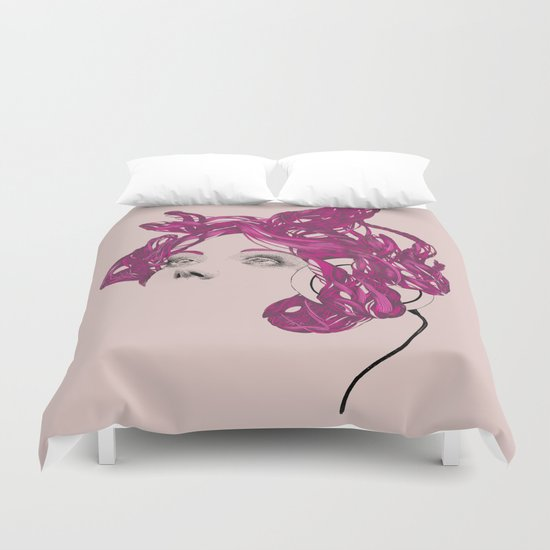 pink bunny lady Duvet Cover