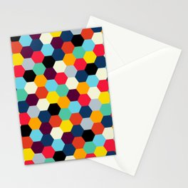 Mid Century French Tiles   Retro Bohemian Pattern Stationery Cards