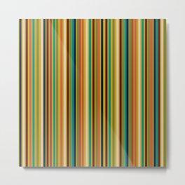 Joseph Stripes Vertical - Mid Century Mod Stripe Pattern in Teal, Olive, Maroon, Navy, Orange, and Mustard Metal Print