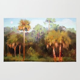 Moonrise over the Palms Rug