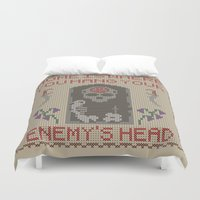skyrim Duvet Covers featuring Home Is Where You Hang Your Enemy's Head by Strong Jaw Designs