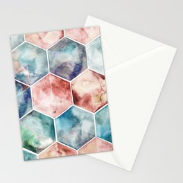 Earth and Sky Hexagon Watercolor Stationery Cards