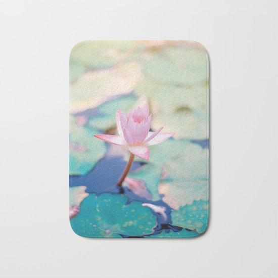 Cute Pink Blooming Lotus Bath Mat