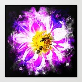 bees on flower splatter watercolor Canvas Print