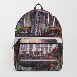 Sunny New Orleans French Quarter Nola Home with Iconic Blue Gray Architecture and Botanical Greenery Backpack