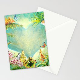 Orchids and Tropical Flower Blossoms Heart portrait painting Felipe Juan Stationery Cards