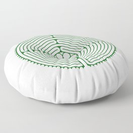 Cathedral of Our Lady of Chartres Labyrinth - Green Floor Pillow