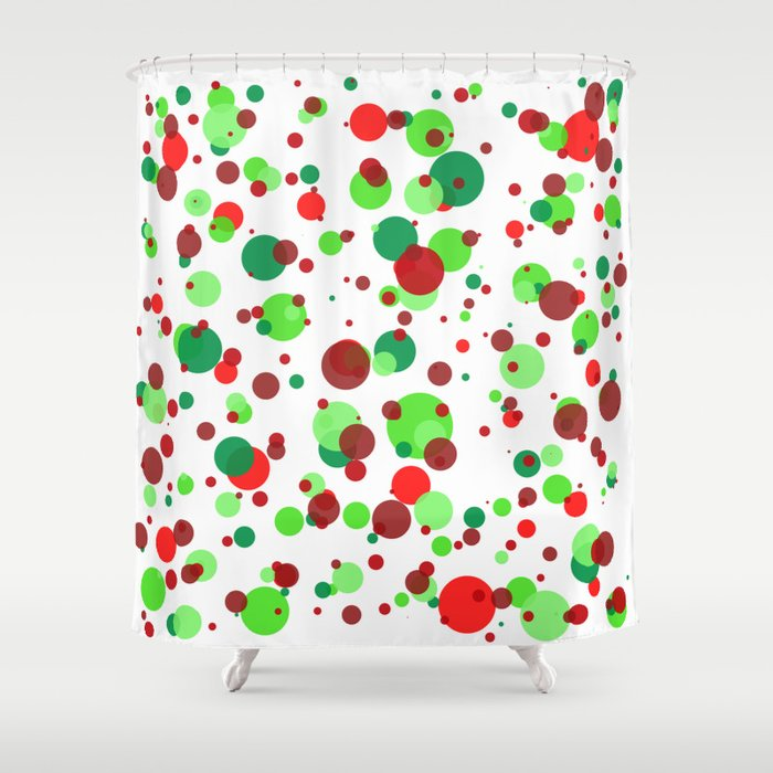 Numerous bubbles of different sizes of Christmas colors Shower Curtain