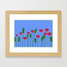 Poppies in blue Framed Art Print