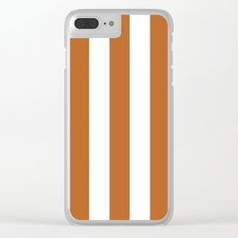 Ruddy brown - solid color - white vertical lines pattern Clear iPhone Case