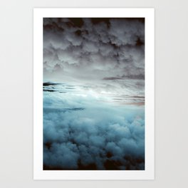 Glacier Painted Clouds Art Print