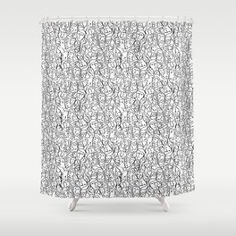 Mini Elio Shirt Faces in Black Outlines on White CMBYN Shower Curtain