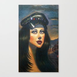 """Biker Girl 2"" Canvas Print"