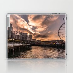 Seattle Waterfront near Pike Place Market at sunrise - skyline travel pink Laptop & iPad Skin