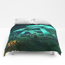 Luminous Mushrooms Comforters