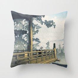 Hasui Kawase, Sunset At Nigatsudo, Nara - Vintage Japanese Woodblock Print Art Throw Pillow