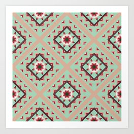 Quilted Avocado Green Winter Art Print