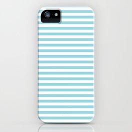Pale Sky Blue & White Horizontal Stripe iPhone Case