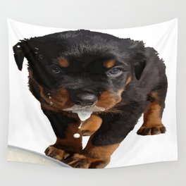 Cute Rottweiler Puppy Lapping Milk Vector Wall Tapestry
