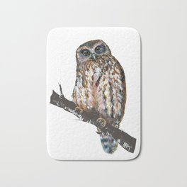 Mrs Ruru, New Zealand Morepork Owl Bath Mat