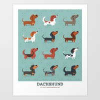 dachshund Art Prints featuring DACHSHUND by Doggie Drawings