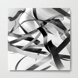 Black paper stripes Metal Print