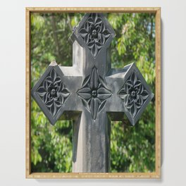Gothic Style Christian Cross Headstone Old Holy Trinity Church in Wentworth  Serving Tray