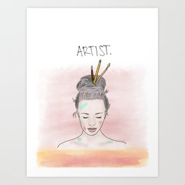 Artist with a Bun Art Print