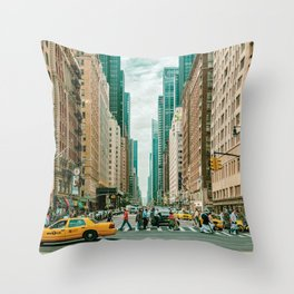 New York street and a yellow taxi Throw Pillow