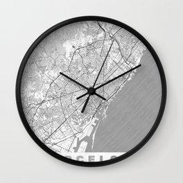 Barcelona Map Line Wall Clock