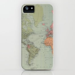 Vintage Map of The World (1889) iPhone Case