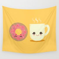 cigarette Wall Tapestries featuring Coffee and Donut Buds by Steph Dillon