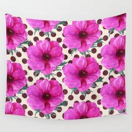 Vintage Pink Magenta Floral Pattern On Polk-A-Dot Background Wall Tapestry
