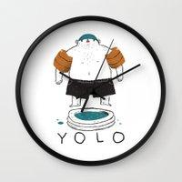 yolo Wall Clocks featuring yolo by Louis Roskosch