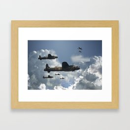 Lancaster Bomber with Top Cover Framed Art Print