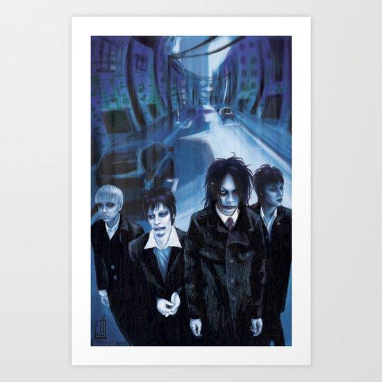 Blue Gathering Art Print