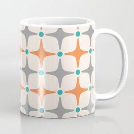Mid Century Modern Star Pattern Grey and Orange Coffee Mug