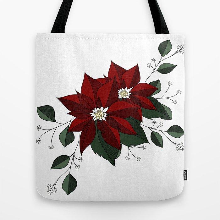 Red Poinsettia Tote Bag