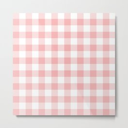 Coral Checker Gingham Plaid Metal Print