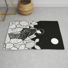 Japanese Lady in a Cactus Field at Night Rug