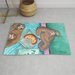 sloths pizza party Rug