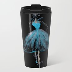 Blue and Light Haute Couture Fashion Illustration Metal Travel Mug