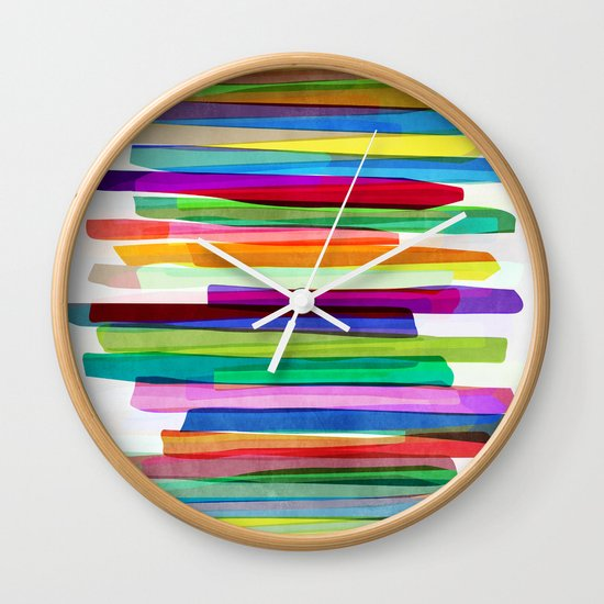 Colorful Stripes 1 Wall Clock By Mareike B 246 Hmer Society6