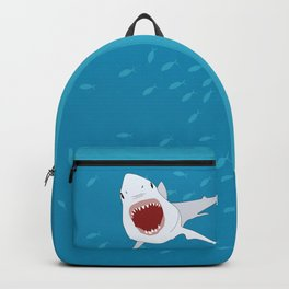 Shark Attack Underwater With Fish Swimming In The Background Backpack