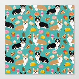 Welsh Corgi junk food fast food tacos french fries pizza burrito ice cream donuts Canvas Print