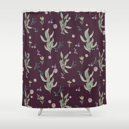 Modern burgundy pink pastel green watercolor floral Shower Curtain