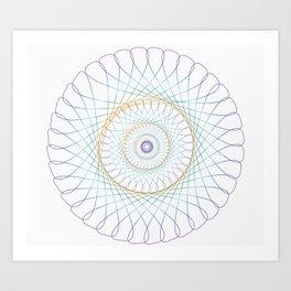 Iridescent Spirograph Pattern I Art Print