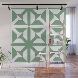 Spring geomentric concrete tiles pattern sage green Wall Mural